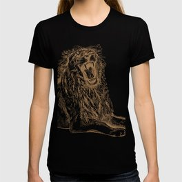 Back Off, Please in Gold | Roaring Lion Drawing T-shirt