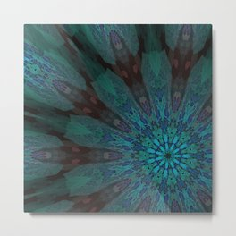 Toxic Blue Mandala 2 Metal Print