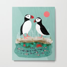 Puffins - Bird Art, Shorebird, Sea bird, birds, Cute illustration by Andrea Lauren Metal Print