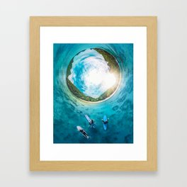 Surfing in the Summer, with the Sea All Around Us Framed Art Print