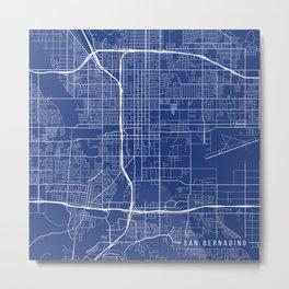 San Bernardino Map, USA - Blue Metal Print