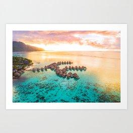 Bora bora Tahiti honeymoon beach resort vacation Art Print