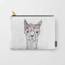 Lovely Llama, Llama Art, Llama Illustration, Boho Llama, Bohemian, Floral Crown, Hand Drawn Carry-All Pouch