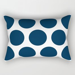 Large Polka Dots: Navy Blue Rectangular Pillow