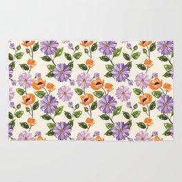 Rustic orange lavender ivory floral illustration Rug
