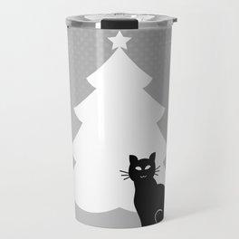 Cat and Mouse around the Christmas Tree Travel Mug