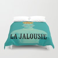 queer Duvet Covers featuring La jalousie by Laura Nadeszhda