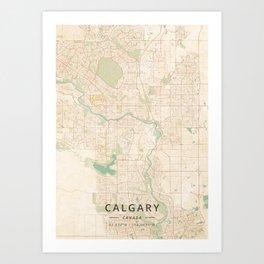 Calgary, Canada - Vintage Map Art Print