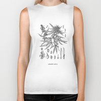 cannabis Biker Tanks featuring cannabis sativa by Oxxygene