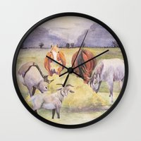 thanksgiving Wall Clocks featuring Thanksgiving by LaurelAnneEquineArt