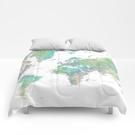 Watercolor world map in muted green and brown Comforters