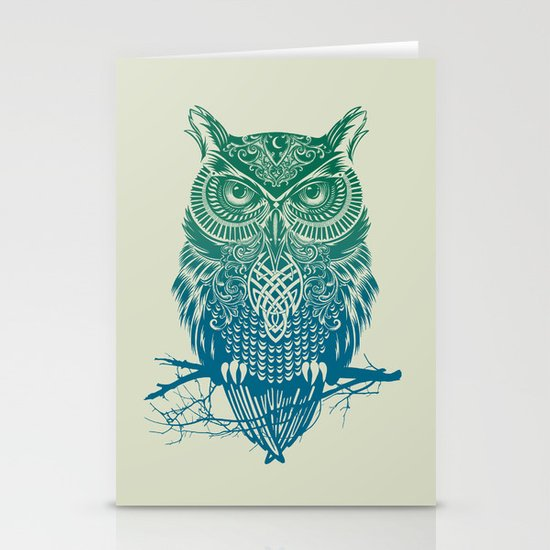 Warrior Owl Stationery Cards