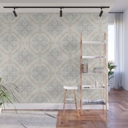 Modern Floral Damask Pattern – Neutral Brown and Gray Earth Tones Wall Mural