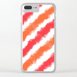 Coral and Orange Stripes Painted Pattern Clear iPhone Case