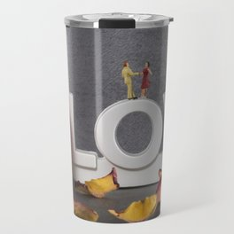 little figures on love text dancing Travel Mug