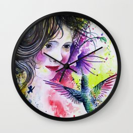 Hummingbird and Little Girl Wall Clock