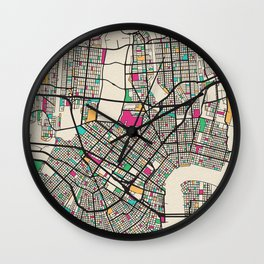 Colorful City Maps: New Orleans, Louisiana Wall Clock