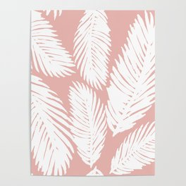 White Tropical Palm Tree Fern Leaf on Rose Gold Pattern Poster