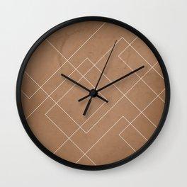 Overlapping Diamond Lines on Cinnamon  Wall Clock