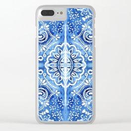 Batik Blue and White Mandala Clear iPhone Case