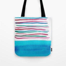 22  |181026 Lines & Color Block | Watercolor Abstract | Modern Watercolor Art Tote Bag