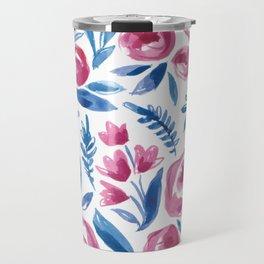 Blue & Magenta Flowers Travel Mug