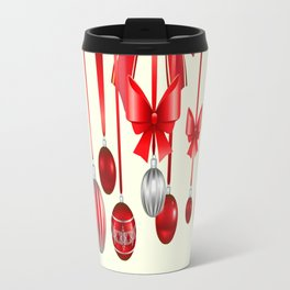 DECORATIVE RED CHRISTMAS ORNAMENTS &  HOLLY BERRIES  ART Travel Mug