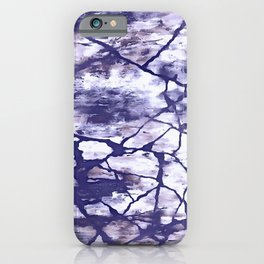 Inkwell Blue Fractures Abstract Expressionism iPhone Case