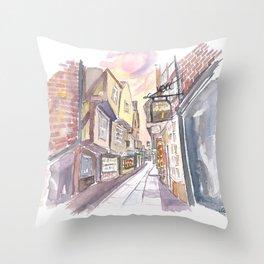 York Yorkshire England The Shambles Street Scene Throw Pillow
