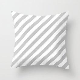 Diagonal Stripes (Gray & White Pattern) Throw Pillow