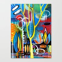 mid century modern Canvas Prints featuring Mid Century Modern Landscape by Rookery Design