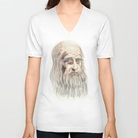 da vinci V-neck T-shirts featuring Leonardo da Vinci Colorful by André Minored