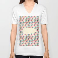 piglet V-neck T-shirts featuring Geometric Piglet  by ArtisanObscure Prints