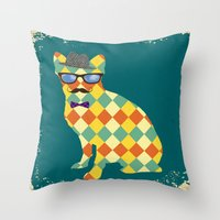 terrier Throw Pillows featuring Argyle Terrier  by David Andrew Sussman