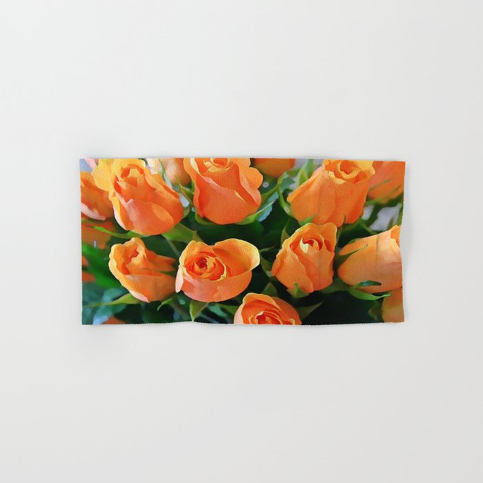 Painterly Bouquet Of Apricot Roses Hand & Bath Towel