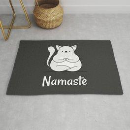 Namaste Yoga Cat Dark Grey Rug