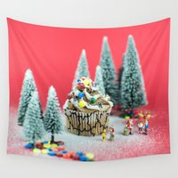 cupcake Wall Tapestries featuring Christmas cupcake by josemanuelerre