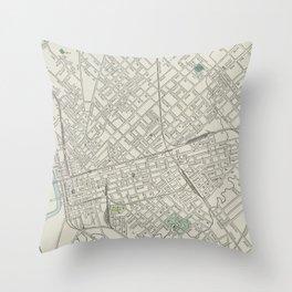 Vintage Map of Dallas Texas (1901) Throw Pillow