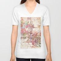 phoenix V-neck T-shirts featuring Phoenix  by MapMapMaps.Watercolors