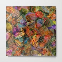 Painted Autumn Leaves Metal Print