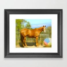 A Horse and Her Ball Framed Art Print