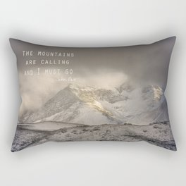 The Mountains are calling, and I must go.  John Muir. Vintage. Rectangular Pillow