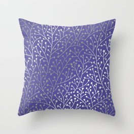 Periwinkle Berry Branches Throw Pillow