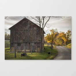 Red Barn, Country Road Canvas Print