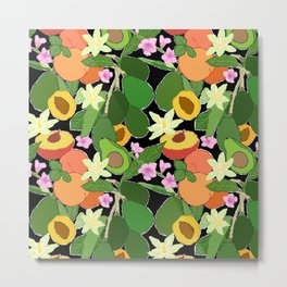 Avocado + Peach Stone Fruit Floral in Black Metal Print