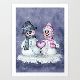 Snowman in love Art Print