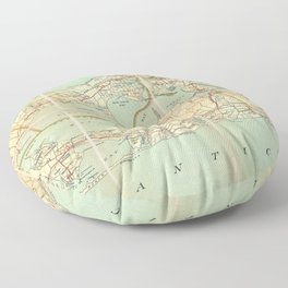 Vintage Road Map of Long Island (1905) Floor Pillow