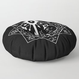 Invisible Sun Symbol on Black Floor Pillow