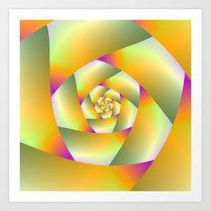 Yellow Pink and Green Spiral Art Print