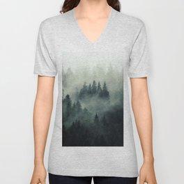 Misty pine fir forest landscape in hipster vintage retro style Unisex V-Neck